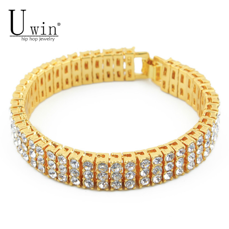 UWIN Iced Out Hip hop Bracelet Silver/Gold Color 3 Row Bling Bling Rhinestones Crystal Men's Bracelet Bangle Punk Jewelry 20cm