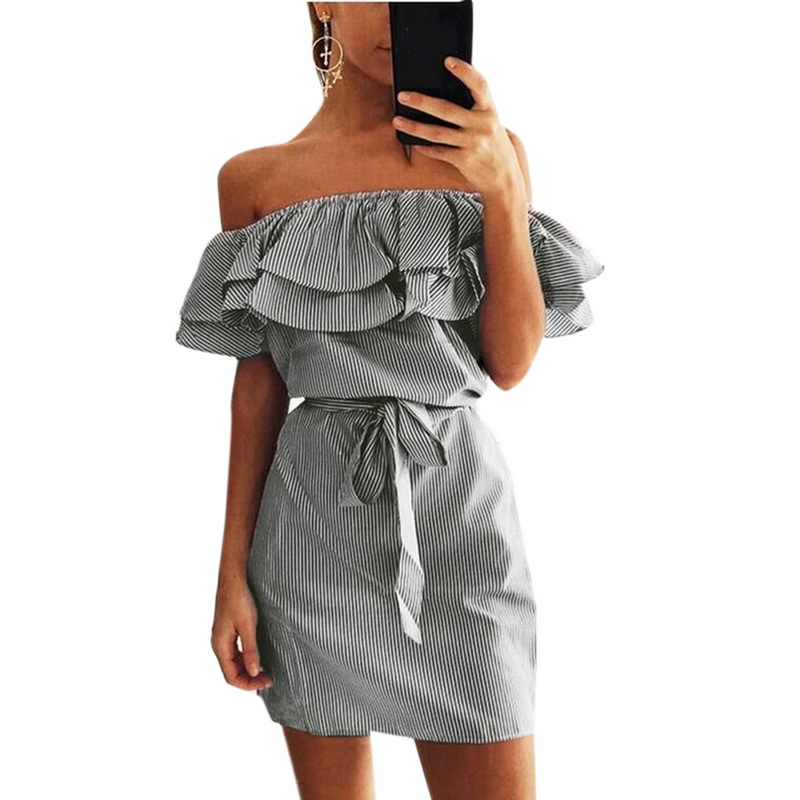 LASPERAL Casual Sundress Women 2018 Summer Ruffle Sashes Off Shoulder Lotus Leaf Sleeve Sexy Vestidos Female Pencil Mini Dress