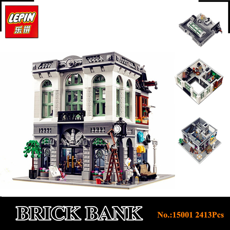 IN STOCK New LEPIN 15001 2413Pcs Brick Bank Model Educational Building Kids Blocks Bricks Toy Compatible With 10251 Gift fetsbuy mink fur ball cap gray pom poms winter hat for women girl s wool hat knitted cotton beanies cap brand thick female cap
