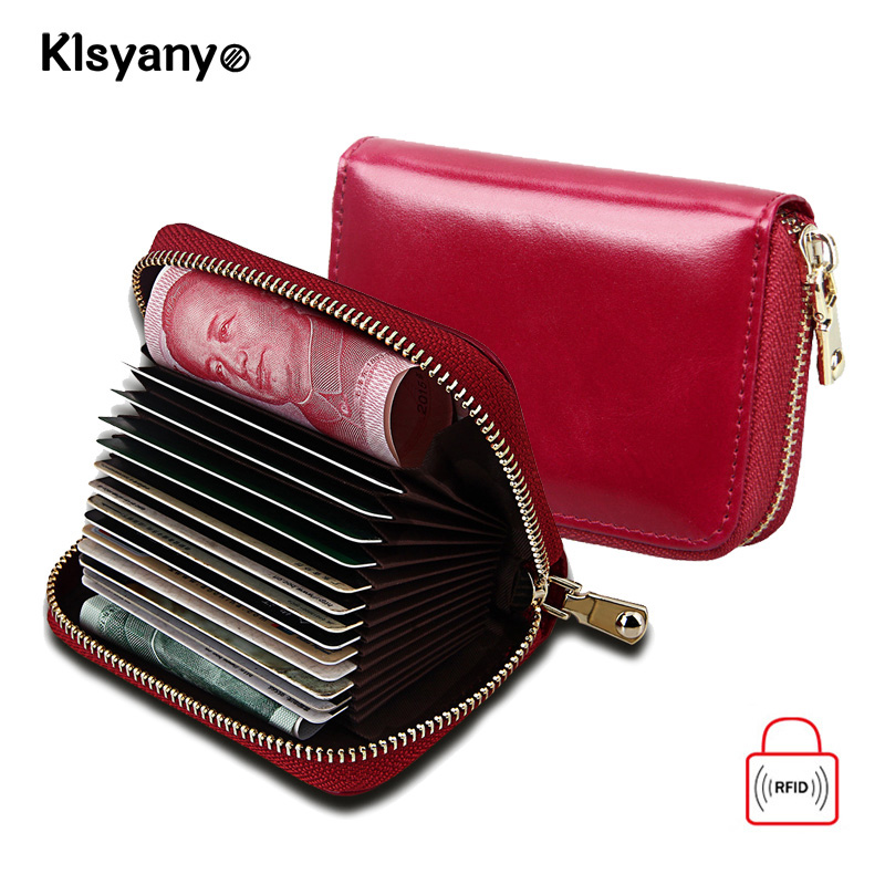Klsyanyo RFID Blocking Women Zipper Credit Card Holder Cow Leather Fashion Soft Business Cardholder ID Hold