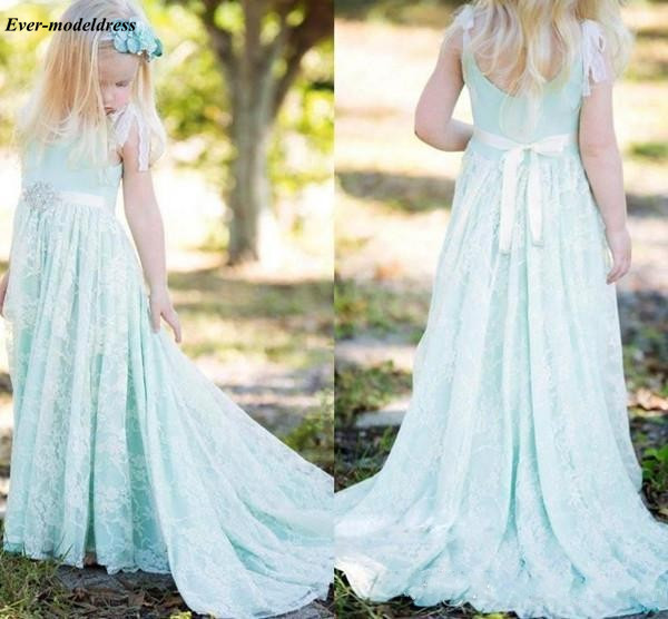 Mint Green   Flower     Girl     Dresses   For Wedding Long 2018 Lace Sashes Long First Communion   Girls   Pageant Party Gowns Cheap Customized