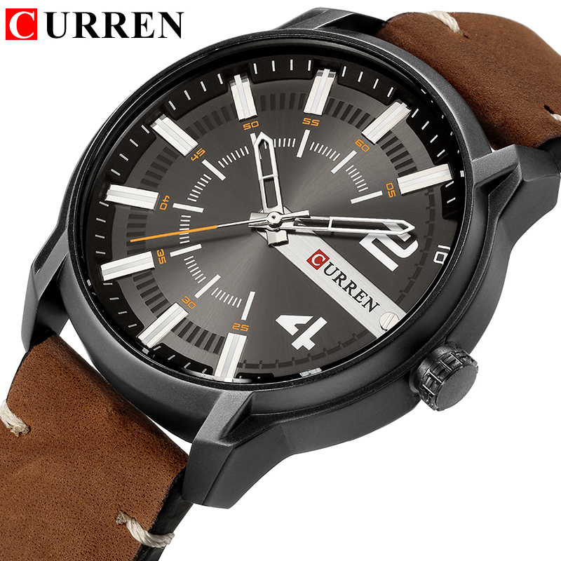 Top Brand Luxury CURREN New Unique Dial Design Fashion Casual Business Men Watches Leather Strap Wristwatch Waterproof Clock
