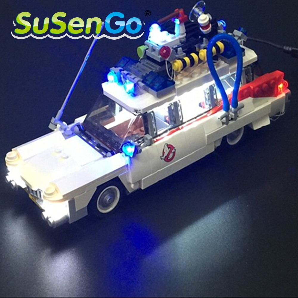 SuSenGo LED Light Kit For Ghostbusters Ecto-1 Compatible With Famous Brand Lepin 21108 Building Blocks Toys Decorate Set lightaling led light set compatible with brand camping van 10220 building model creator decorate kit blocks toys