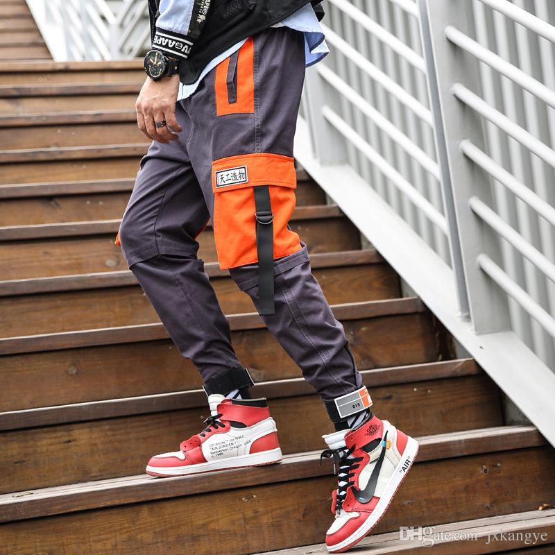 Joggers-Pants Overalls Big-Pockets Streetwear Male Summer Mens Ankel Black Spring 9012
