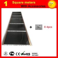 1 квадратный метр дальняя инфракрасная нагревательная пленка, AC220V подогрев пола пленка с 4 шт. соединительные клипсы