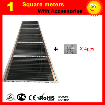 1 Square meter far Infrared Heating film, AC220V floor heating film with 4 pieces connecting clips цена 2017