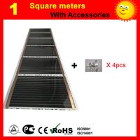 1 Square Meter Far Infrared Heating Film AC220V Floor Heating Film With 4 Pieces Connecting Clips