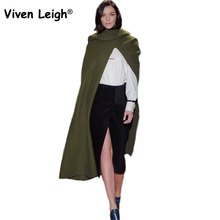 Viven Leigh Women Hooded Cloak Coat Women's Autumn Winter New Vintage Woolen Batwing Cape High Split Front Poncho Outerwear(China)