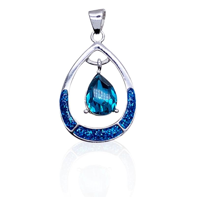 Summer new ocean blue Opal necklace Hollow love He...