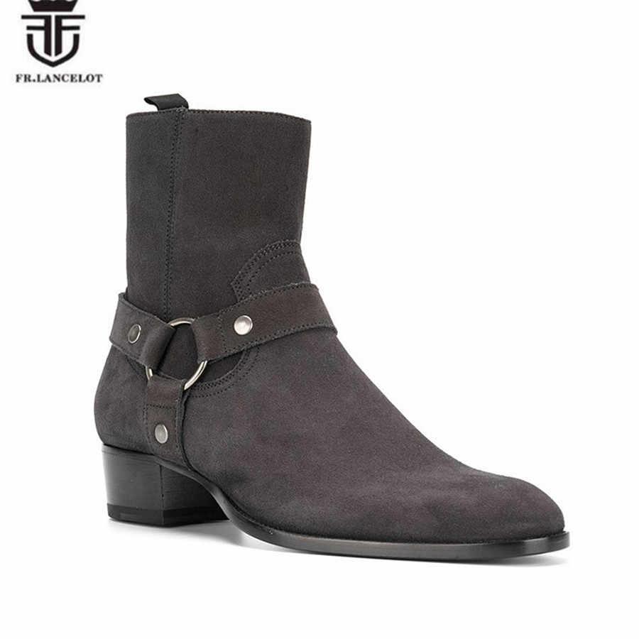 2018 Мужские эксклюзивные роскошные высокие замшевые коричневые сапоги Челси с ремешками на лодыжках, ручная работа Wyatt, Подиумные ботинки на танкетке с острым носком на Западном каблуке