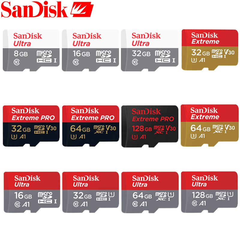 Sandisk 100% Original Memory Card 64GB 32GB Max Read Speed 90M/s 16GB micro sd card Class10 UHS-1 flash card Memory Microsd sandisk ultra compact flash memory card 50mb s
