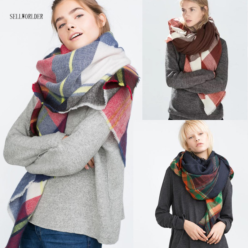 SELLWORLD 16 Styles 2018 Celebrity Big Brand Square Style Women Winter   Scarf   Long Size Warm Fashion   Scarves   &   Wraps   plaid