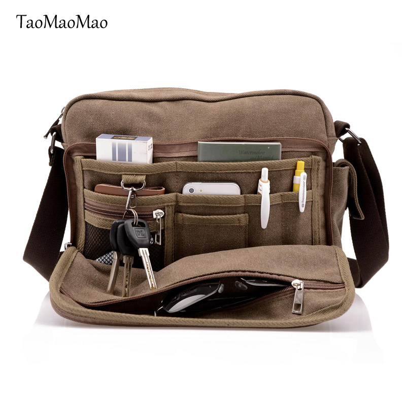 High Quality Men Canvas Bag Casual Travel Men 39 s Crossbody Bag Multifunction Men Messenger Bags TaoMaoMao