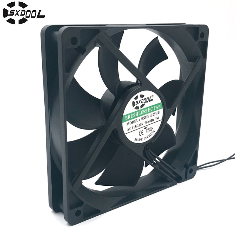 SXDOOL brushless EC electric axial fan motor 120*120*25 mm 120mm 12cm 110V 115V 220V 230VAC 50/60Hz 7W 2600RPM 100.2CFM sunon axial blower fan 220v 12cm 120 120 25mm 12025 12cm case fan