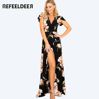 Refeeldeer Women Summer Dress 2017 Sexy Deep V Neck Split Long Maxi Dresses For Women Tunic