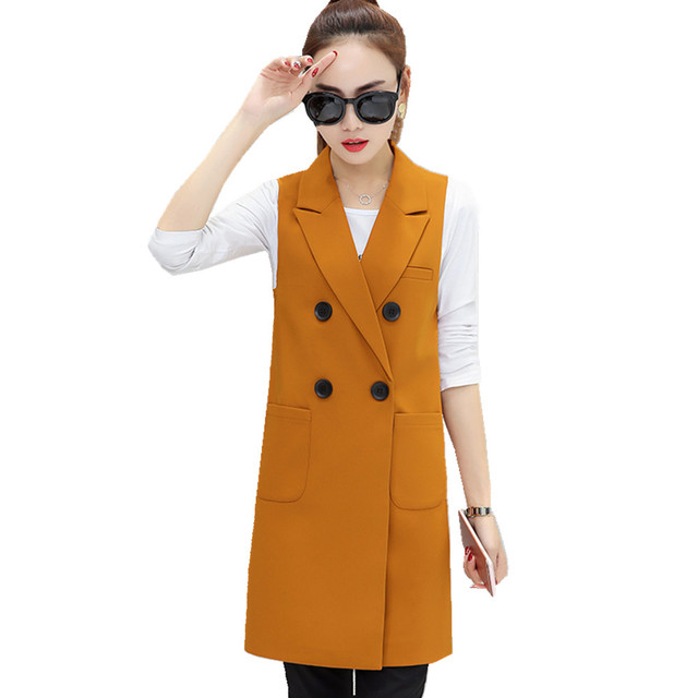 8d4153dcb82de Fmasuth New Brand Fashion Red Sleeveless Vest Jacket Turn down Collar Double  Breasted Slim Fit Long Blazer Vest Women ow0289