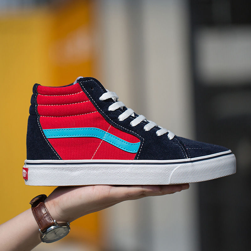 Have An Inquiring Mind 2019 Classic Men Womens High Top Navy Blue Canvas Shoes Sk8 Hi Black White Canvas Shoes Red Sports Shoes Sneaker Shoes Men's Vulcanize Shoes