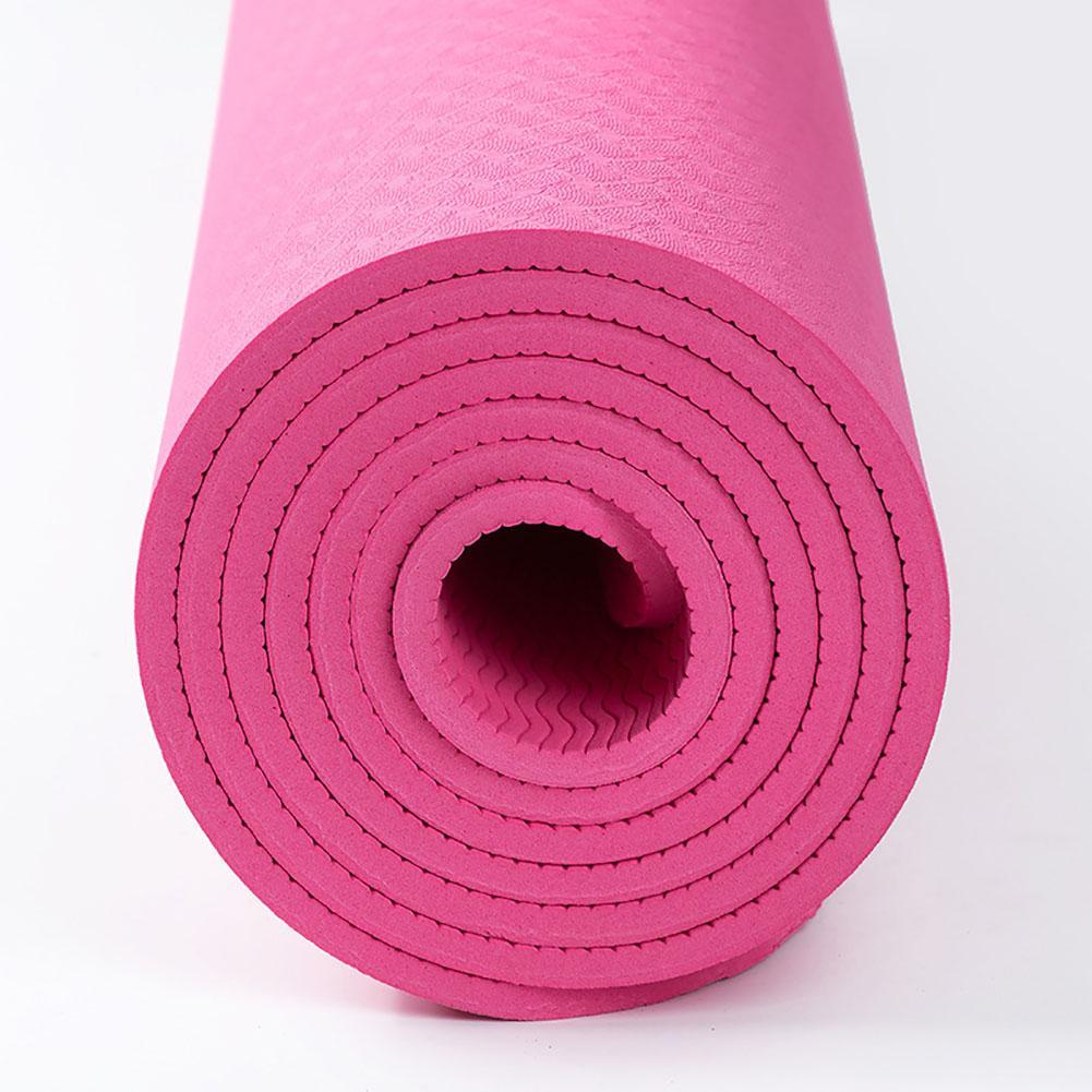 New Fitness Thick Yoga Mat Monochrome 6mm Environmentally Friendly Odorless Non Slip High  Elasticity Comfortable Mat Pink