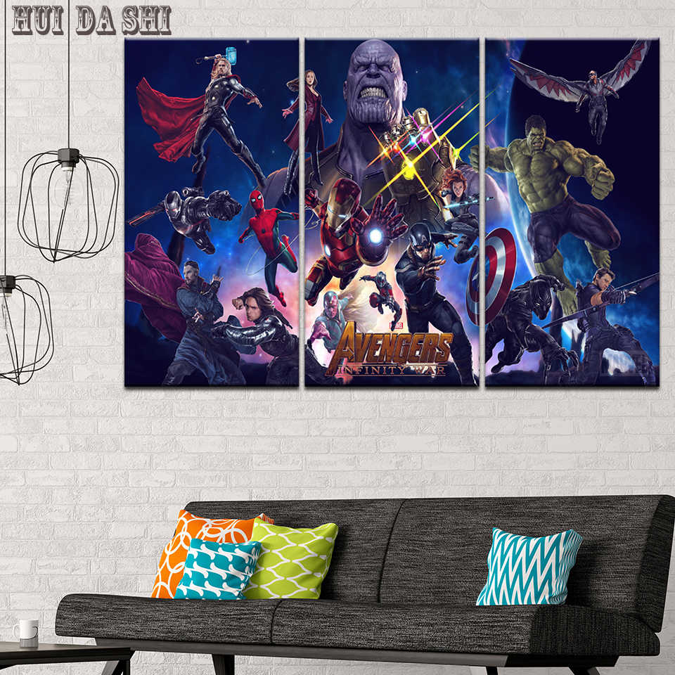 3 Pieces HD Print Large Avengers Infinity War Movie Poster Paintings on Canvas Wall Art for Home Decorations Wall Decor Artwork