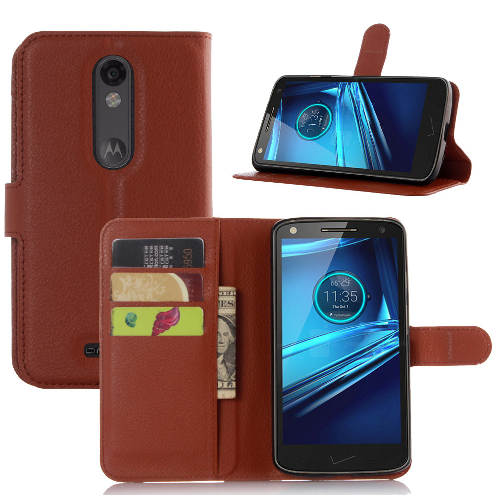 Lychee Print PU Leather <font><b>Case</b></font> For Motorola MOTO <font><b>Droid</b></font> <font><b>Turbo</b></font> <font><b>2</b></font> XT1585 <font><b>Case</b></font> Flip Stand Wallet Card Holder <font><b>Phone</b></font> Shell Back Cover