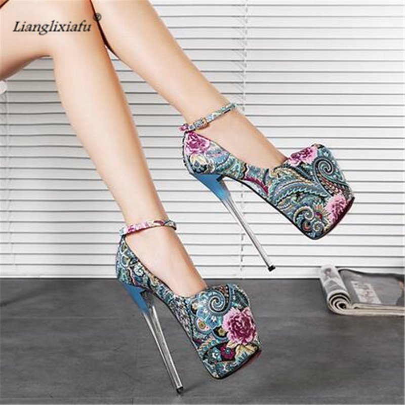 LLXF zapatos Plus:34 45 46 47 Catwalk Shows 2017 Nightclub Sexy 19cm High heeled Ethnic Shoes woman Stiletto female Buckle Pumps