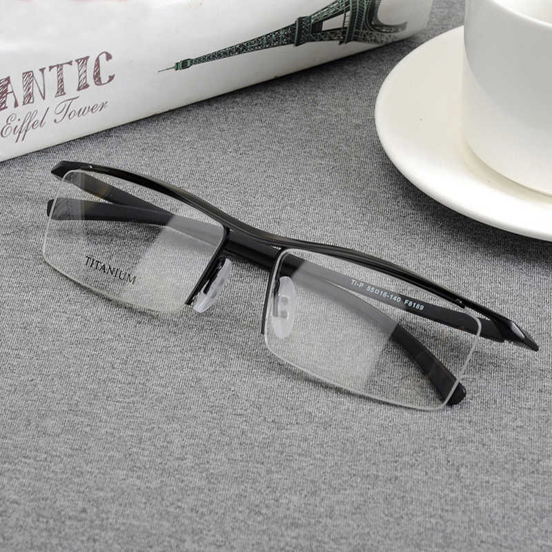 Browline Half Rim Titanium Metal Glasses Frame for Men Eyeglasses Fashion Cool Optical Eyewear Man Spectacles Prescription Frame
