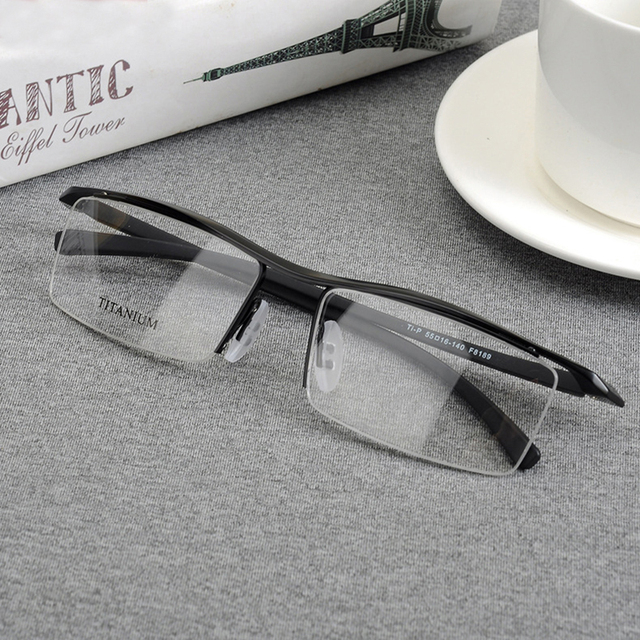 edb405382c Browline Half Rim Titanium Metal Glasses Frame for Men Eyeglasses Fashion  Cool Optical Eyewear Man Spectacles