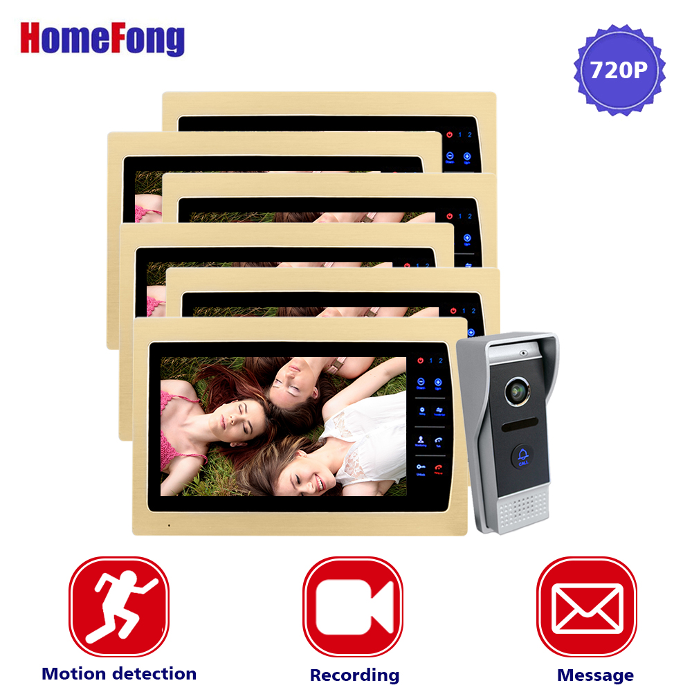 Homefong AHD 720P Video Doorbell Intercom System 10 Inch Golden Monitor 6 Indoor Panels 1 Outdoor Panel Record Motion Alarm homefong 10 inch wired video door phone intercom system 720p ahd high resolution doorbell camera 4 monitors 1 call panel record