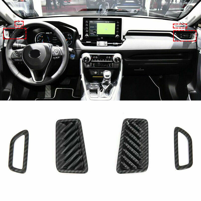 4pcs car Vent Cover Decorations black Carbon Fiber Style auto Dashboard Air Vent Cover Trim decorative For Toyota Rav4 2019 in Interior Mouldings from Automobiles Motorcycles