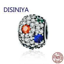 DISINIYA  Design 925 Sterling Silver Clear Colorful CZ Pave Stone Dazzling Sparkling Beads for Lady Brand Charm Bracelet FIC547