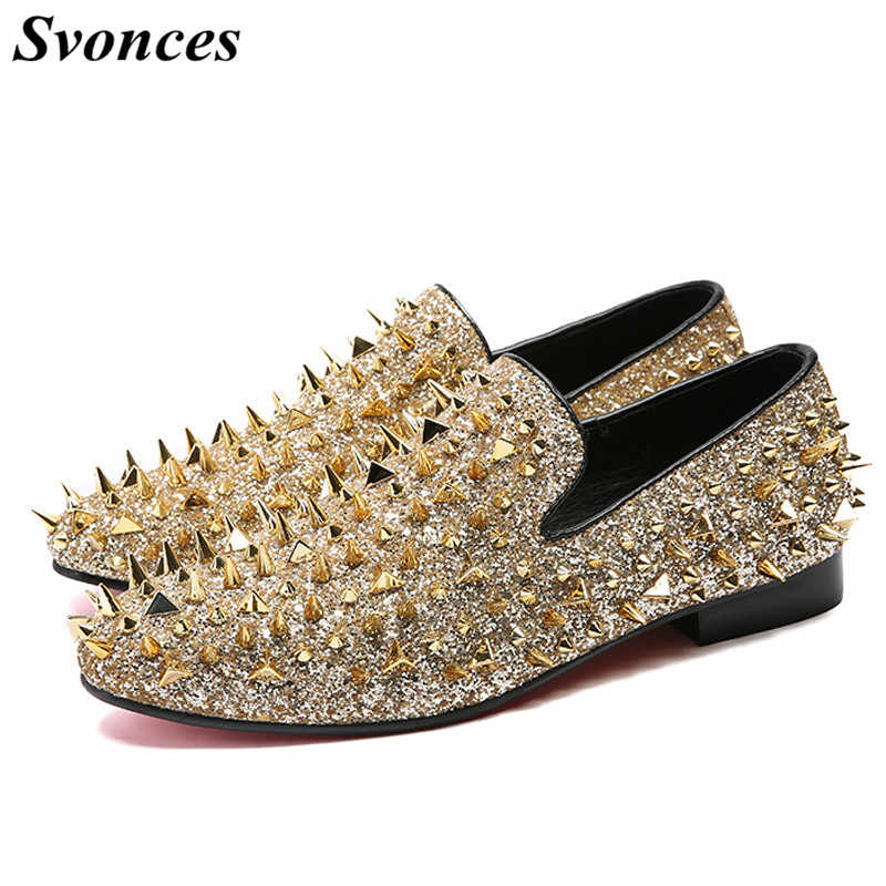 884c36a94cd2 Svonces Shiny Gold Spiked Rivets Loafers Men Casual Shoes Red Bottoms  Sequins Wedding Dress Shoes Men