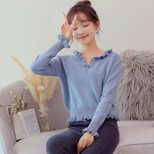 цена на Japanese Style Cute Sweater Bow Tied Ruched V Neck Sweater Cropped Knitted Pullovers High Waisted Peplum Ladies Jumpers