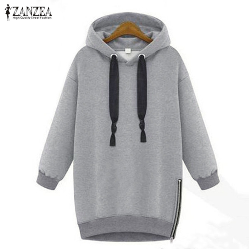 ZANZEA 2019 Women's Hoodies Hooded Pullovers Female Jackets Autumn Casual Fleece Side Zipper Jumpers Plus Size Sweatshirts S-5XL