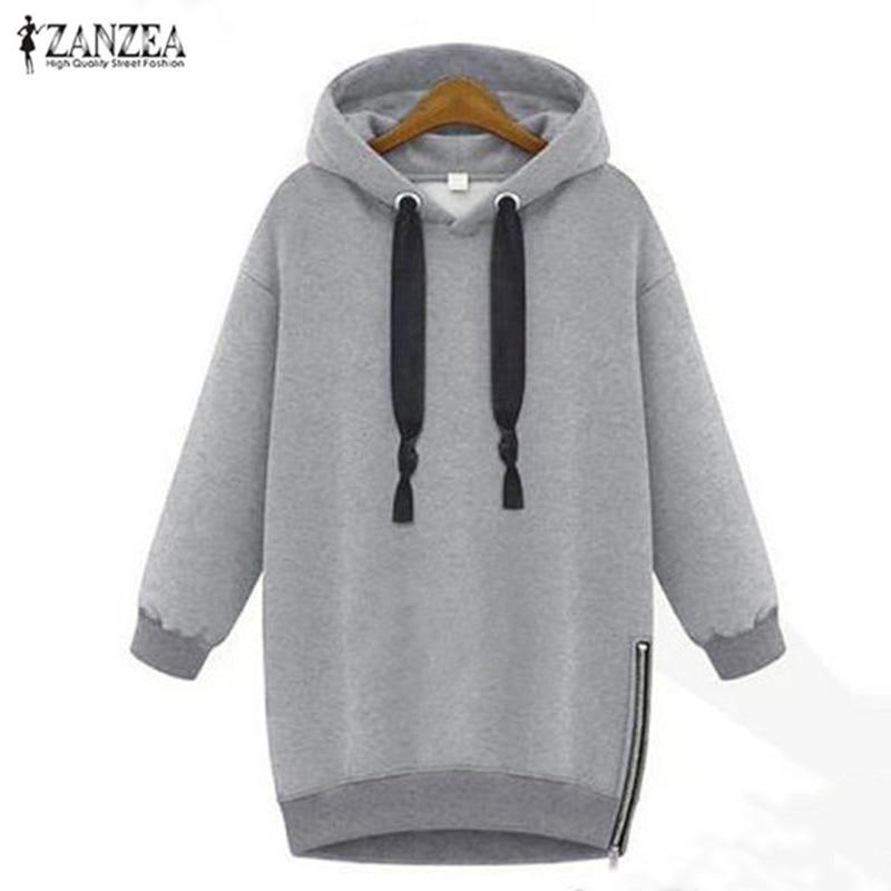 ZANZEA 2019 Women's Hoodies Hooded Pullovers Female Jackets Autumn Casual Fleece Side Zipper Jumpers Plus Size Sweatshirts S-5XL