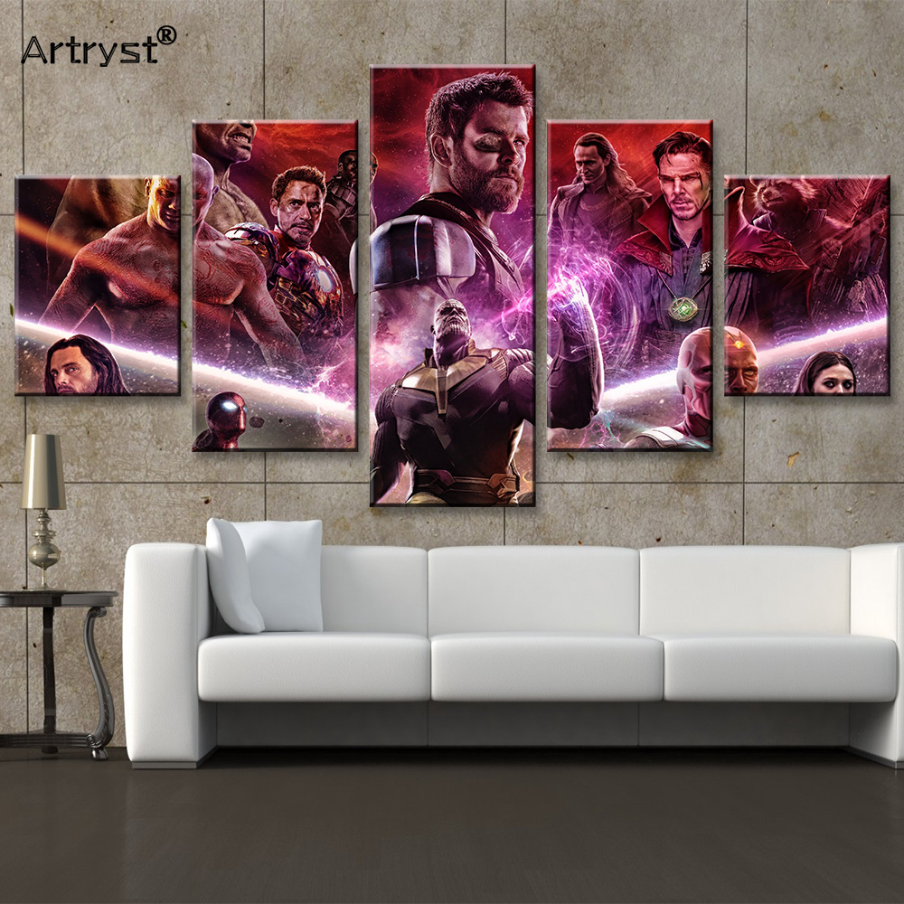 2018 New 5 Pieces HD Print Large Avengers Infinity War Movie Figure Poster Paintings on Canvas Wall Art Picture For Living Room