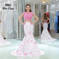 Two Pieces Gown 2017 Mermaid Print Pattern Prom dresses long graduation dresses Cap Sleeve Evening Prom Dress Custom Made