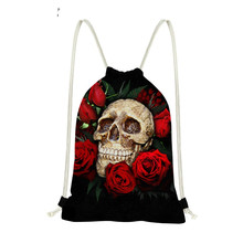 Punk Skull Flower Printing Fashion Women Men 3D Drawstrings Bags Custom Brand Strap Travel Storage Bags WholesaleSumka