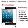 Para ipad mini 1 2 3 4 touchscreen digitador para ipad air touch panel vidro com IC Connector & HOME Flex cable