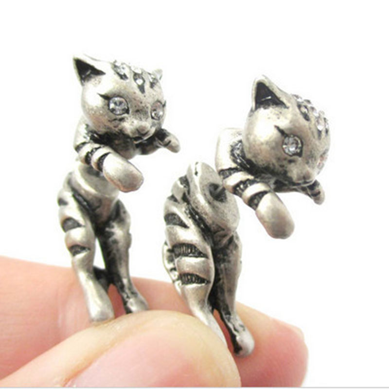 New Style Hot Sale 3d Adorable Kitty Cat Themed Stud Animal Realistic Earrings Fine Jewelry for Ladies and Girls
