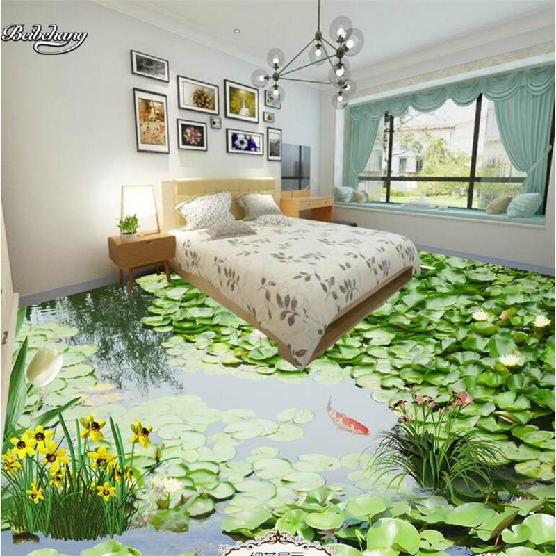 beibehang 3d custom film large-scale murals pastoral green pond 3D floor waterproof wear-resistant thick green pvc film beibehang walking cloud 3d floor tile tile customization large fresco pvc thick wear resistant floor cover papel de parede
