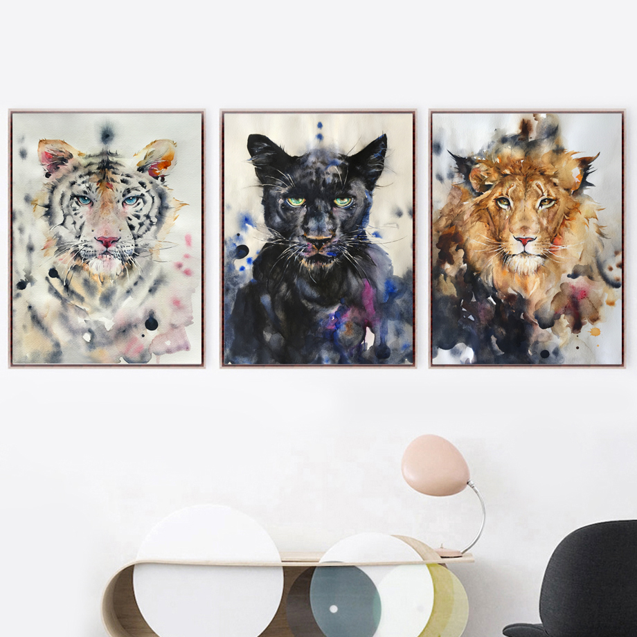 Watercolor Panther Tiger Lion Nordic Posters And Prints Wall Art Canvas Painting Animal Pictures For Living Room Home Decor
