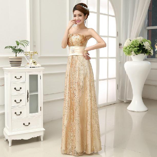 1a692dc27cc New 2014 Fashion Formal dress Gold Chiffon Tube Top Long Evening dress  High-waist Slim vestido de festa gown party dresses E65
