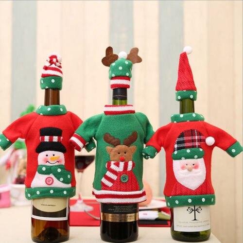 Noël fée 2 pièces bouteille de vin couvre Santa bonhommes de neige Elk Table décor bouteille bouchon fête de noël cadeau décor à la maison|Protection bouteilles de vin|   -
