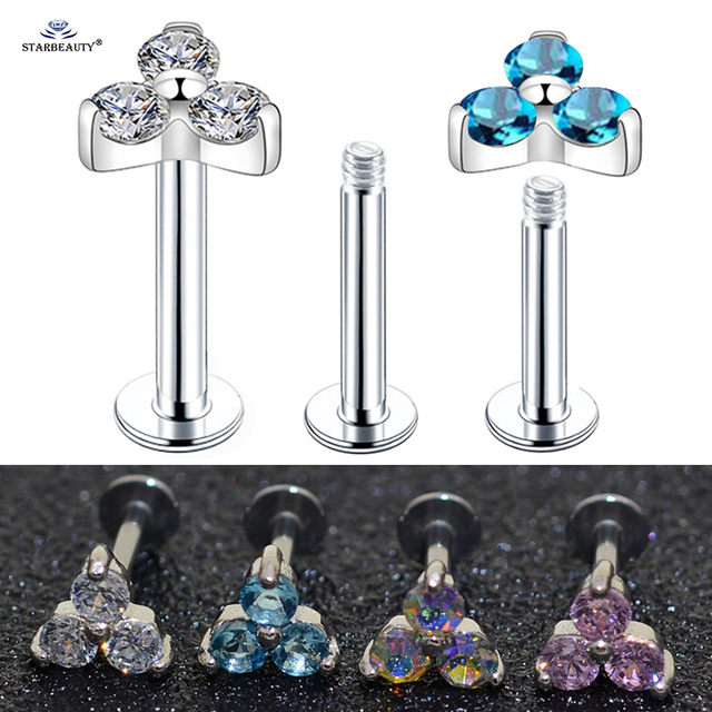 16G 6/8mm Sexy Three Gem Tragus Piercing Oreja Nose Piercing Labret Helix Lip Piercing Nose Ring Cartilage Earring Stud Jewelry