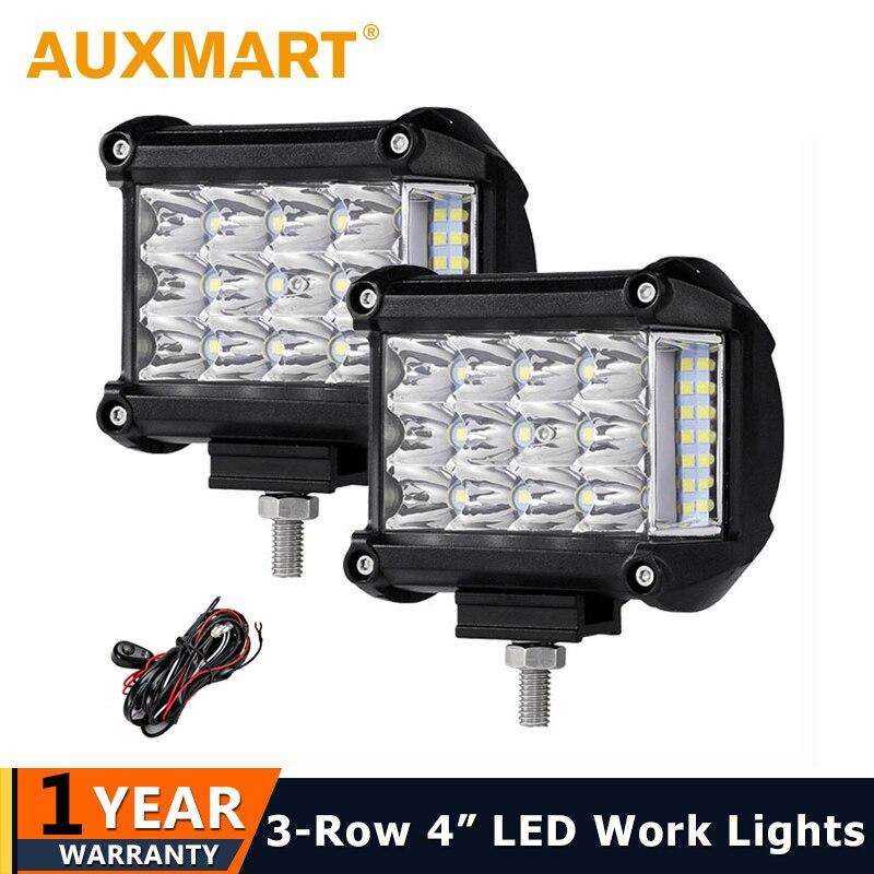 Auxmart 4 inch 57W Side Luminous Led Work Light Car Driving Lamp Offroad Light Bar Combo Beam For 4x4 Trucks Off-road Vehicles