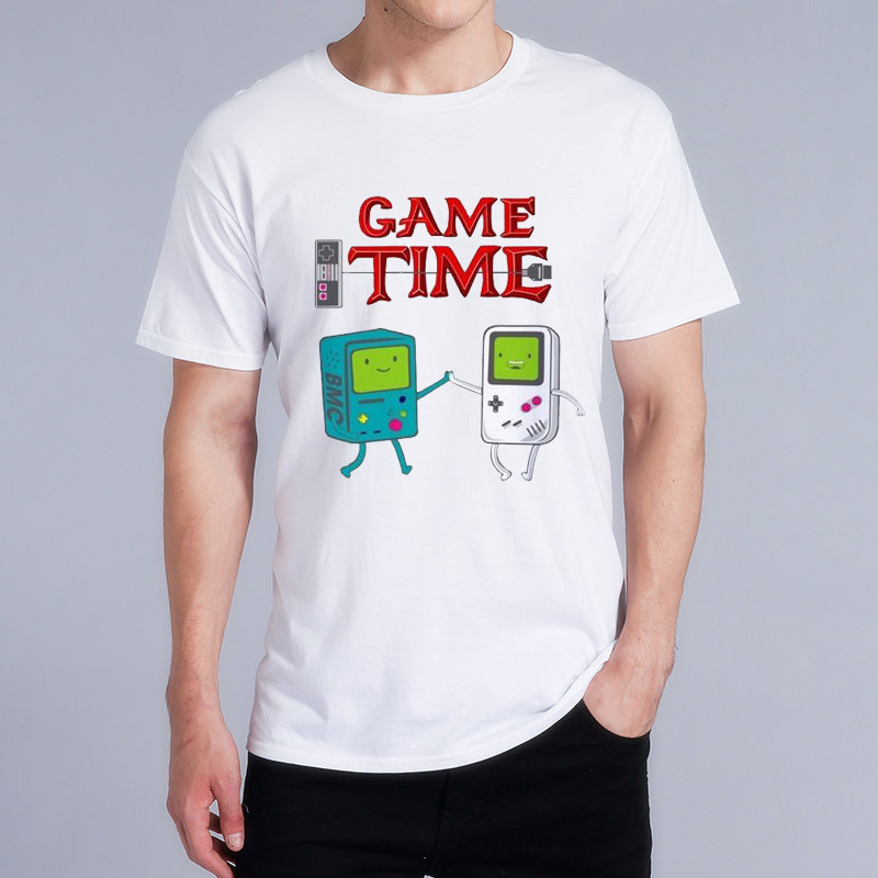 Funny T Shirt Men Cartoon Game Time Man New High Quality Summer T Shirt Men White Video Game Print T-Shirt