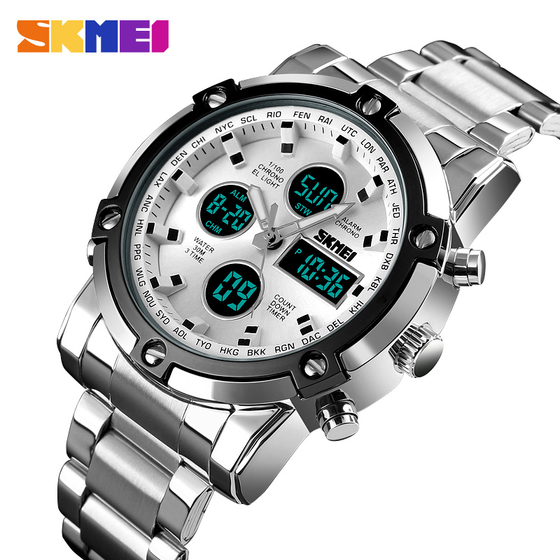 Skmei Men's Fashion Sport Watches Stainless Steel Analog Digital LED Display Army Watch Military Wristwatches For Men Waterproof