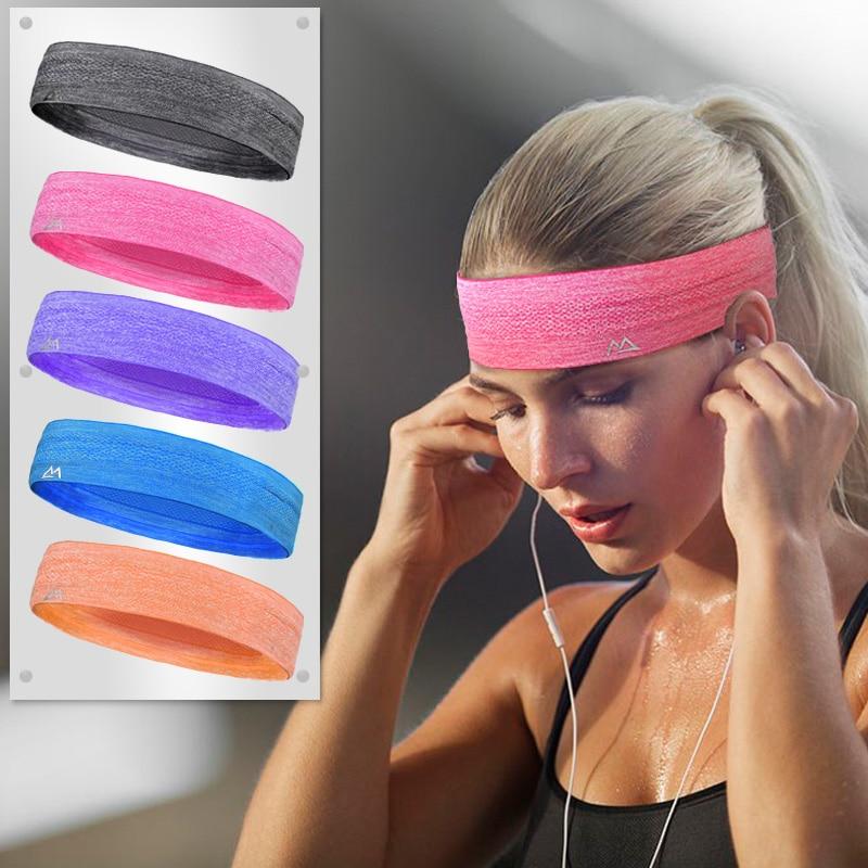 Maleroads Sport Headband Men Women Head Sweat Band Run Football Tennis Headscarf Silicone Anti-slip Elastic Sweatband HairBand