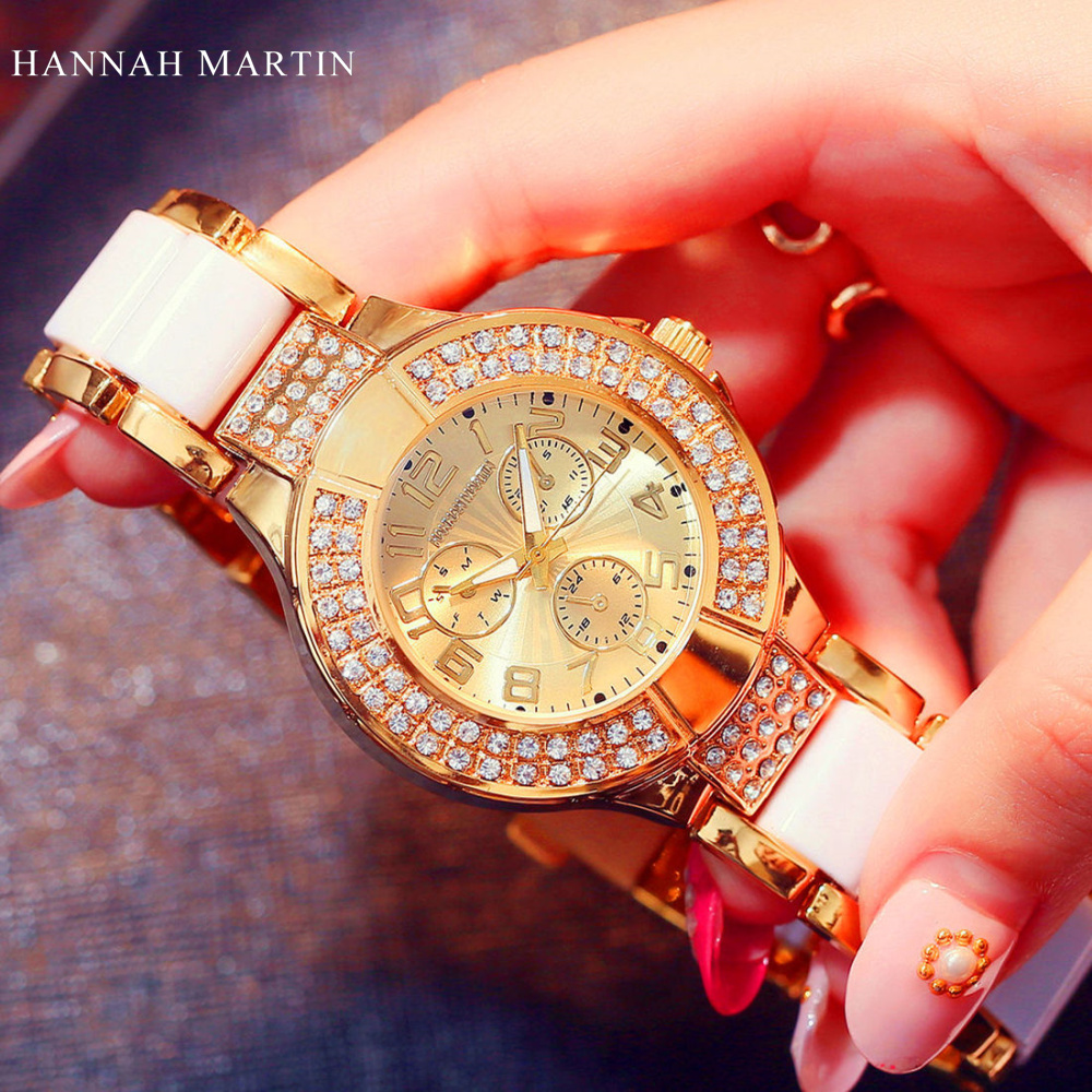 HANNAH MARTIN Top Brand Women Luxury Gold Watches Fashion Rhinestone diamond Bracelet Watches For Lady Quartz Watch reloj mujer bs brand women luxury fashion rhinestone watches lady shining dress watch square bracelet wristwatch ladies diamond quartz watch