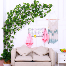 wall decorative plants artificial Hanging plastic Plants fake Green Leaves boston ivy vine tree branches fake Foliage home decor все цены